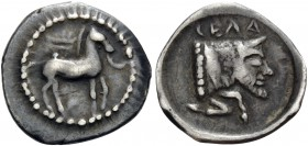 SICILY. Gela. Circa 465-450 BC. Litra (Silver, 12 mm, 0.79 g, 8 h). Horse walking right; above, wreath. Rev. ΓΕΛΑΣ Forepart of Acheloos as a man-heade...