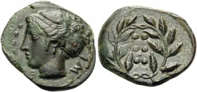 SICILY. Himera. Circa 415-409 BC. Hemilitron (Bronze, 17 mm, 2.90 g, 4 h). IM-E Head of nymph to left, with six pellets (value mark) to left. Rev. Val...