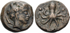 SICILY. Syracuse. Second Democracy, 466-405 BC. Tetras (Bronze, 15 mm, 4.21 g, 9 h), c. 425. ΣYPA Head of Arethusa to right, between two dolphins swim...