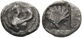 THRACE. Abdera. Circa 473/0-449/8 BC. Hemiobol (Silver, 8 mm, 0.26 g, 8 h). Forepart of a griffin to left, right paw raised. Rev. Scallop shell in inc...