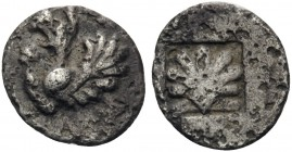 THRACE. Abdera. Circa 473/0-449/8 BC. Hemiobol (Silver, 8 mm, 0.25 g, 10 h). Forepart of a griffin to left, right paw raised. Rev. Scallop shell in in...