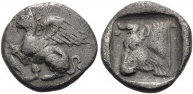 THRACE. Abdera. Circa 411/0-386/5 BC. Triobol (Silver, 12.5 mm, 1.64 g, 3 h). Griffin seated to left, right forepaw raised; laurel-leaf below raised f...