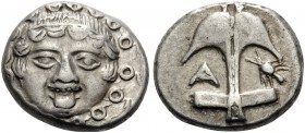 THRACE. Apollonia Pontika. Late 5th-4th centuries BC. Drachm (Silver, 14 mm, 3.31 g, 11 h). Facing gorgoneion. Rev. Anchor with Α to left and crayfish...