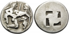 ISLANDS OFF THRACE, Thasos. Circa 500-463 BC. Stater (Silver, 21.5 mm, 8.90 g). Nude, ithyphallic and bearded satyr moving right in the archaic 'runni...