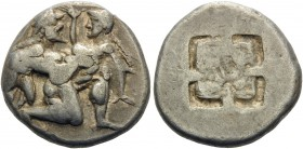 ISLANDS OFF THRACE, Thasos. Circa 500-463 BC. Stater (Silver, 20 mm, 9.00 g), c. 500-480. Ithyphallic satyr advancing right, carrying off protesting n...