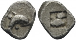 ISLANDS OFF THRACE, Thasos. Circa 435-411 BC. Hemiobol (Silver, 8 mm, 0.37 g). Dolphin swimming to right; pellet above and below. Rev. Quadripartite i...