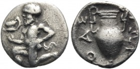 ISLANDS OFF THRACE, Thasos. Circa 411-340 BC. Trihemiobol (Silver, 11.5 mm, 0.68 g, 12 h). Bald satyr kneeling to left, holding kantharos in his right...