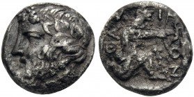 ISLANDS OFF THRACE, Thasos. Circa 404-340 BC. Trihemiobol (Silver, 10 mm, 0.97 g, 1 h). Bearded head of Dionysos to left, wearing ivy wreath with berr...