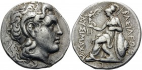 KINGS OF THRACE. Lysimachos, 305-281 BC. Tetradrachm (Silver, 26.5 mm, 16.97 g, 11 h), Lampsakos, c. 297-281. Diademed head of Alexander the Great to ...