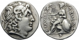 KINGS OF THRACE. Lysimachos, 305-281 BC. Tetradrachn (Silver, plated, 27.5 mm, 12.62 g, 1 h), c. 250-200 or later, imitating a Lampsakos issue of, c. ...