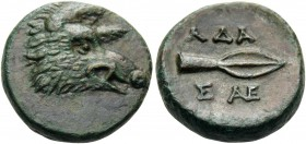 KINGS OF THRACE. Adaios, circa 275-225 BC. Hemiobol (Bronze, 16 mm, 4.20 g, 8 h). Head of boar to right. Rev. AΔA Spearhead to right, with two monogra...