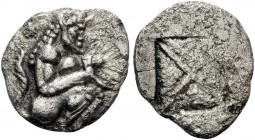 THRACO-MACEDONIAN REGION. Siris. Circa 525-480 BC. Trihemiobol or 1/8 Stater (Silver, 11.5 mm, 0.79 g). Satyr with tail crouching right, holding rhyto...