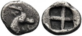 THRACO-MACEDONIAN TRIBES, Mygdones or Krestones. Circa 485-480 BC. Hemiobol (Silver, 7 mm, 0.30 g). Head of a goat to right . Rev. Quadripartite incus...