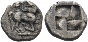 THRACO-MACEDONIAN TRIBES, Orreskioi. Circa 500-480 BC. Obol (Silver, 9.5 mm, 0.99 g). Bearded centaur in the 'running-kneeling' posture to right, his ...