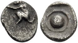 THRACO-MACEDONIAN REGION. Uncertain. 480-450 BC. Hemiobol (Silver, 6.5 mm, 0.25 g). Monkey squatting to left. Rev. Round shield within incuse square. ...
