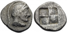 MACEDON. Akanthos. Circa 500-470 BC. Diobol (Silver, 11 mm, 1.21 g). Helmeted head of Athena to right. Rev. Quadripartite incuse square. SNG Copenhage...