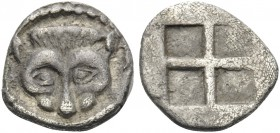MACEDON. Akanthos. Circa 500-470 BC. Obol (Silver, 9 mm, 0.45 g). Head and neck of lioness seen from above. Rev. Quadripartite incuse square. SNG ANS ...