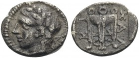 MACEDON, Chalkidian League. Circa 432-348 BC. Hemiobol (Silver, 7.5 mm, 0.27 g, 12 h), c. 417-412. Laureate head of Apollo to left. Rev. ΧΑΛ-ΚΙ Tripod...