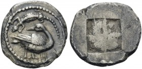 MACEDON. Eion. Circa 460-400 BC. Trihemiobol (Silver, 12 mm, 0.81 g). Goose standing to right, head turned back to left; above, lizard to left; below ...