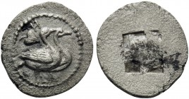 MACEDON. Eion. Circa 460-400 BC. Obol (Silver, 10 mm, 0.46 g). H Two geese standing right; above to left, ivy leaf. Rev. Quadripartite incuse square. ...