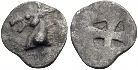 MACEDON. Mende. Circa 510-480 BC. Tritartemorion (Silver, 10.5 mm, 0.47 g). Head of an ass to left; pellet on neck. Rev. Quadripartite incuse square o...