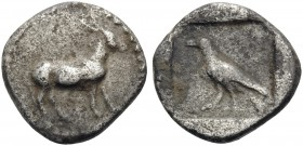 MACEDON. Mende. 423-400 BC. Obol (Silver, 9 mm, 0.53 g, 3 h). Ass walking slowly to right. Rev. Crow standing left within swallow incuse square. HGC 3...