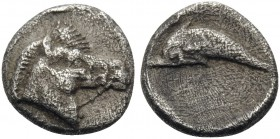MACEDON. Methone. Circa 400-350 BC. Hemiobol (Silver, 8 mm, 0.48 g, 7 h). Bridled head of horse to right. Rev. Dolphin swimming to left within shallow...