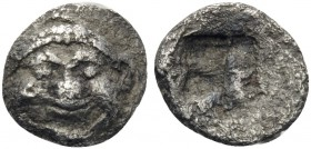 MACEDON. Neapolis. Circa 500-480 BC. Tetartemorion or 1/48th Stater (Silver, 7 mm, 0.24 g). Gorgoneion facing with extended tongue. Rev. Quadripartite...