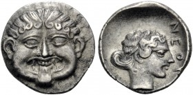 MACEDON. Neapolis. Circa 424-350 BC. Hemidrachm (Silver, 13 mm, 1.68 g, 12 h). Gorgoneion facing with protruding tongue. Rev. ΝΕΟΠ Head of the nymph o...