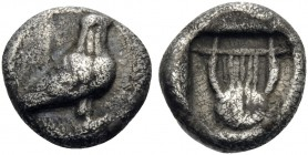 MACEDON. Olophyxos. Circa 450 BC. Obol (Silver, 7.5 mm, 0.52 g, 12 h). Eagle standing to right. Rev. Lyre within deep incuse square. SNG Copenhagen 14...
