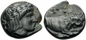 MACEDON. Phagres. Circa 400-350 BC. Chalkous (Bronze, 10.5 mm, 1.18 g, 8 h). Laureate head of Apollo to right. Rev. ΦAΓP Forepart of a lion to right. ...