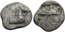 MACEDON. Sermyle. Circa 525-500 BC. Hemidrachm (Silver, 13 mm, 1.91 g). Forepart of bridled horse to right. Rev. Quadripartite incuse square. Psoma 8....