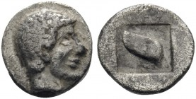 "MACEDON. Skione. Circa 480-450 BC. Hemiobol (Silver, 7 mm, 0.32 g, 2 h). Head of youthful Protesilaos to right. Rev. Galley ""Eye""; all within incuse s..."