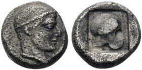 MACEDON. Skione. Circa 450-424 BC. Obol (Silver, 7 mm, 0.54 g, 5 h). Head of the youthful Protesilaos to right, wearing taenia. Rev. Corinthian helmet...