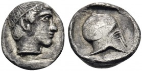 MACEDON. Skione. Circa 424-410 BC. Hemiobol (Silver, 7.5 mm, 0.26 g, 8 h). Head of youthful Protesilaos to right, wearing tainia. Rev. Corinthian helm...