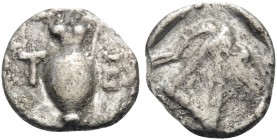 MACEDON. Terone. Circa 400-348 BC. Tritetartemorion (Silver, 8 mm, 0.35 g, 4 h). T E Oinochoe to left. Rev. Head of goat right within incuse square. H...