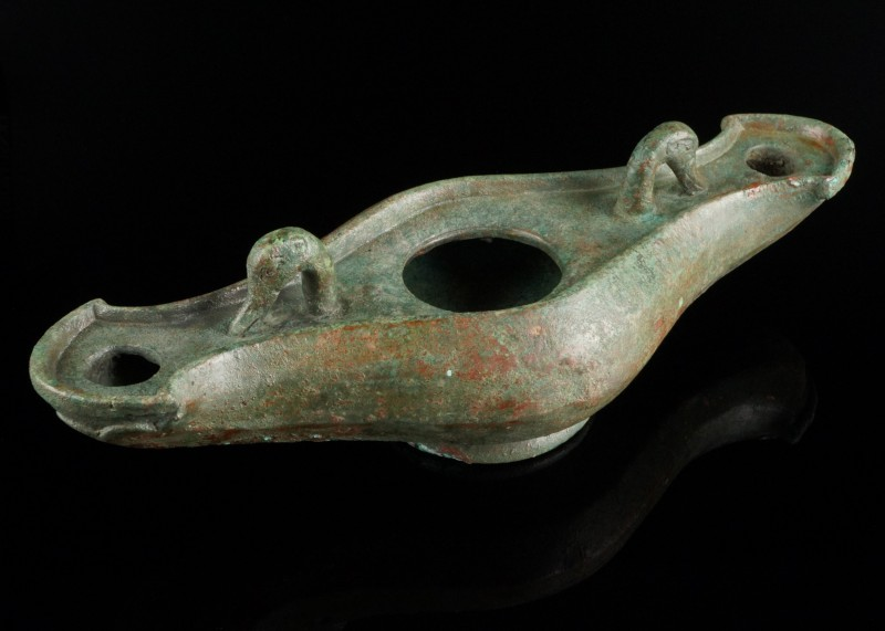 Heavy Roman Hanging Oil Lamp