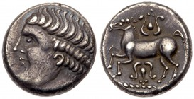 Eastern Celts, Noricum. The Apollo/ Lyre Type. AR Tetradrachm (11.93 g). Imitations of coins of Philip II of Macedonia (359-336 BC). Beardless head to...