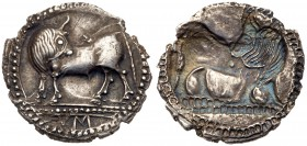 Lucania, Sybaris, Silver Incuse Drachm (2.49 g, 12h). 550-510 BC. Bull standing left, its head turned back, on a dotted exergual line, VM in exergue. ...