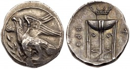 Bruttium, Kroton. Silver nomos (7.66 g), ca. 350-300. Eagle, with open wings and head raised, standing left on olive branch. Rev. KPO, tripod; Δ...