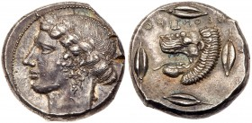 Sicily, Leontini, Silver Tetradrachm (17.49 g, 3h). 430 BC. Laureate head of Apollo facing left. Rev. LEONTINON (retrograde), head of a roaring lion f...