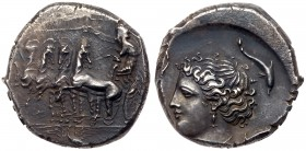 Sicily, Panormos. AR Tetradrachm (16.87g), ca. 360-340 BC. Charioteer, wearing long chiton and holding goad in r. hand, reins in l. driving galloping ...