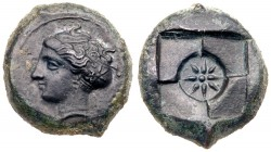 Sicily, Syracuse. Second Democracy. Æ Hemilitron (4.81 g), 466-405 BC. Obverse die signed by the artist E(uainetos)(?). Ca. 410-405 BC. Head of ...