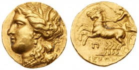 Sicily, Syracuse. Hieron II. 274-216 BC. Gold Decadrachm (4.32 g) or 60 Litrai. Wreathed head of Persephone left, wearing triple-pendant earring and n...