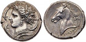 Siculo-Punic, Silver Tetradrachm (16.65 g, 9h), Entella 320-300 BC. Head of Tanit-Persephone facing left, wearing a wreath of grain-ears, a triple-pen...