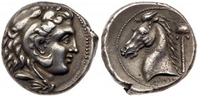 Siculo-Punic, Silver Tetradrachm (17.11g, 3h), 300 BC. Head of young Herakles facing right, wearing a lion's skin headdress. Rev. Horse's head facing ...