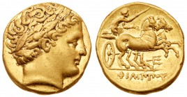 Macedonian Kingdom. Phillip II, 359-336 BC. Gold Stater (8.68g). Mint of Amphipolis, ca. 323/2-315 BC. Laureate head of Apollo right. Rev. ΦI&Lamb...
