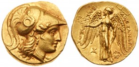 Kingdom of Macedon, Alexander III, The Great, Gold Stater (8.55 g, 1h), 336-323 BC. Mint of Babylon, c. 315-311 B.C. Head of Athena facing right, wear...