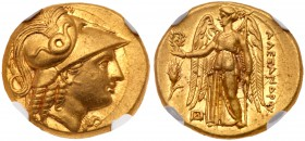 Macedonian Kingdom. Alexander III the Great. Gold Stater (8.55 g), 336-323 BC. Abydos, under Philip III, 323-317 BC. Head of Athena right, wearing cre...