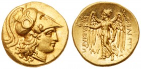 Macedonian Kingdom. Phillip III, 323-317 BC. Gold Stater (8.62g). Babylon mint. Head of Athena right, wearing triple-crested Corinthian helmet ornamen...